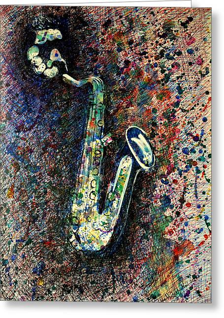 Moody Sax Greeting Card