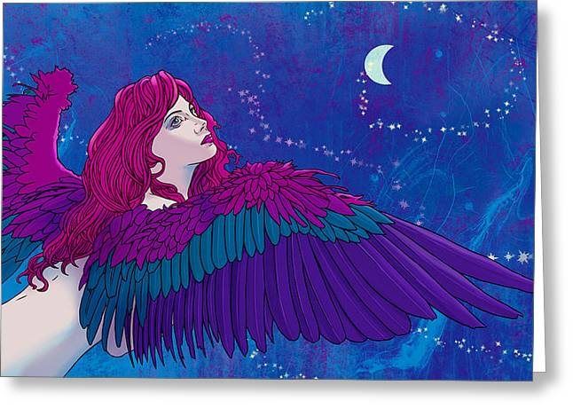 Moon Angel Greeting Card by Vincent Danks