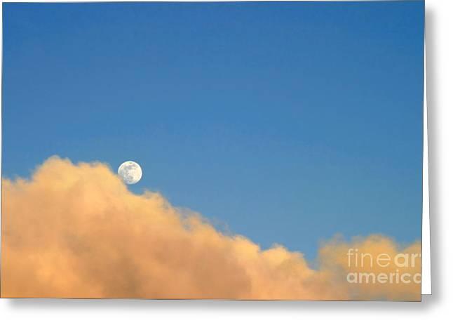 Moon At Sunset Greeting Card