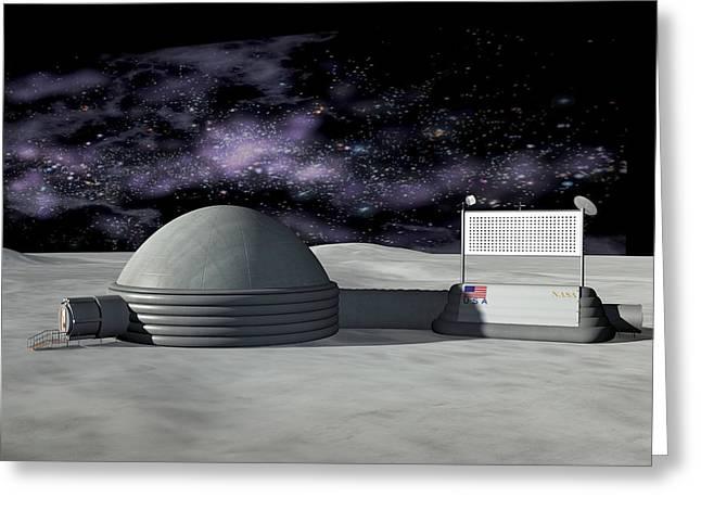 Moon Base, Artwork Greeting Card by Friedrich Saurer