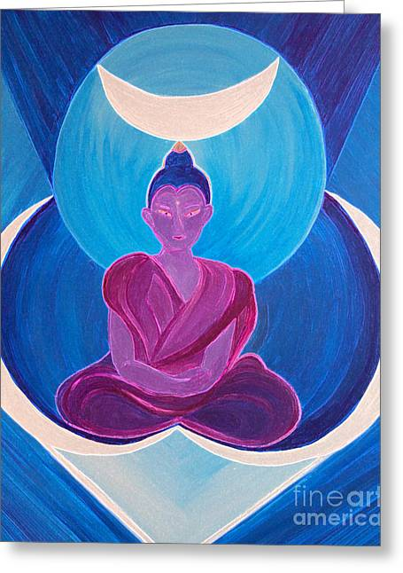 Moon Buddha By Jrr Greeting Card by First Star Art