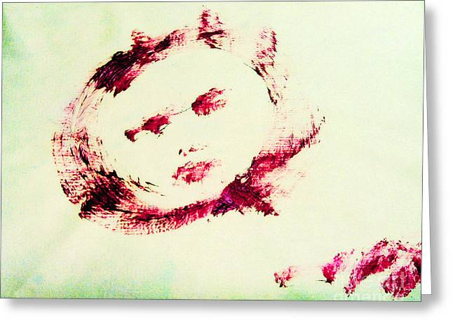 Moon Face Greeting Card by Raul Morales