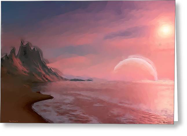 Moon Glow Greeting Card by Wayne Bonney