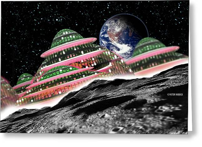 Moon Hotel Greeting Card by Victor Habbick Visions