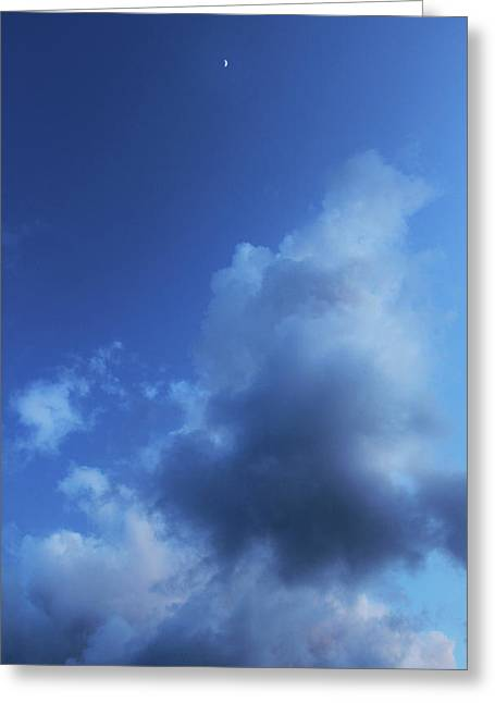 Moon In A Cloudy Sky At Twilight Greeting Card by Gal Ashkenazi