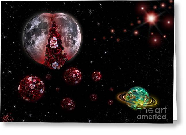 Moon In Labour Greeting Card by Rosa Cobos
