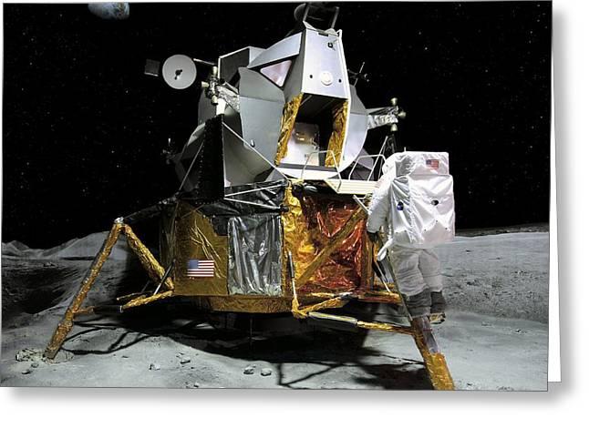 Moon Landing, 21 July 1969 Greeting Card by Detlev Van Ravenswaay