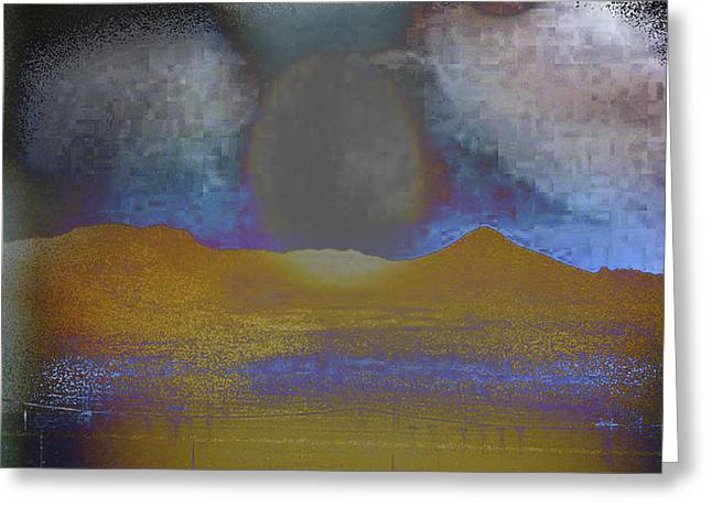 Moon Over Arizona 2 Greeting Card by Lenore Senior and Angela L Walker