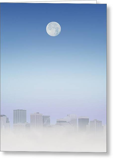 Moon Over Buildings Greeting Card by Kelly Redinger