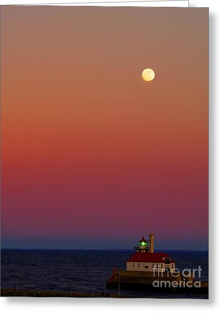 Moon Over Canal Park II Greeting Card by Jimmy Ostgard