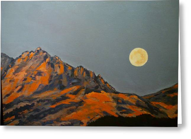 Moon Over Electric Peak Greeting Card by Les Herman