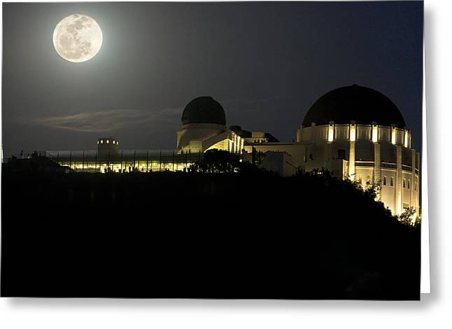 Moon Over Griffith Observatory Greeting Card