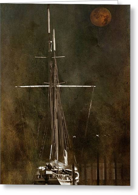 Moon Over Masts Greeting Card