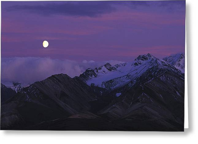 Moon Over Mountains Greeting Card by Nick Norman