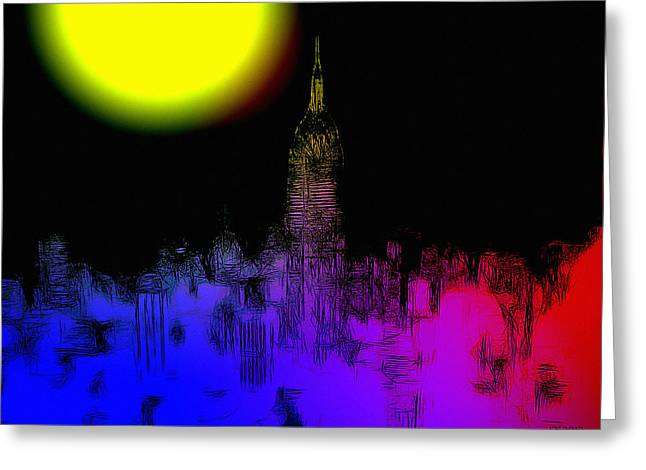 Moon Over New York Greeting Card by Steve K