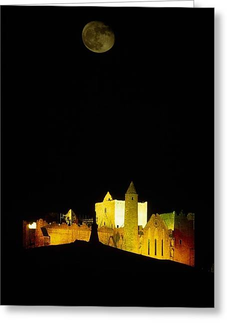 Moon Over Rock Of Cashel, Co Tipperary Greeting Card