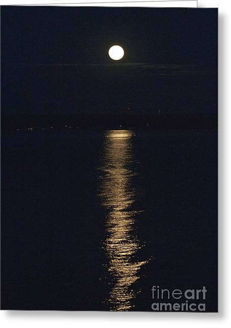 Moon Over Seneca Lake Greeting Card