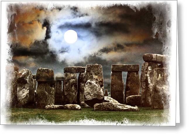 Moon Over Stonehenge Greeting Card