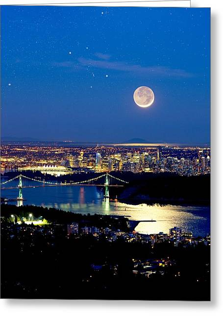 Moon Over Vancouver, Time-exposure Image Greeting Card by David Nunuk