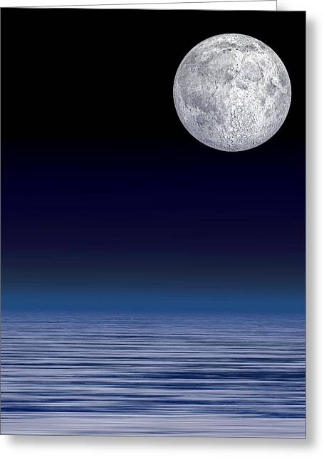 Moon Over Water Greeting Card by Laguna Design
