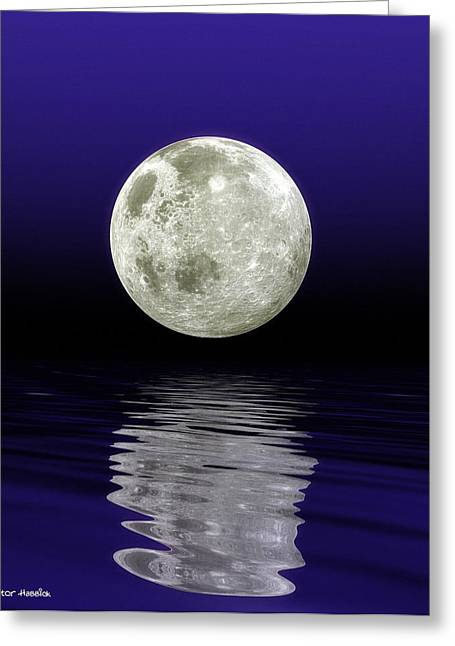 Moon Over Water Greeting Card by Victor Habbick Visions