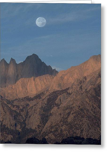Moon Over Whitney Greeting Card