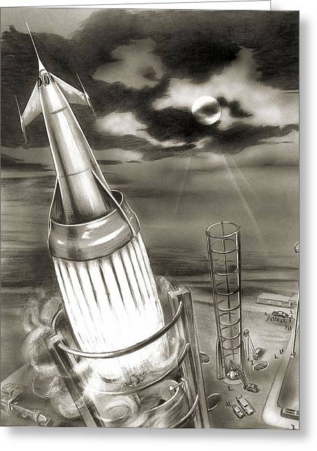 Moon Rocket Launch, 1950s Artwork Greeting Card