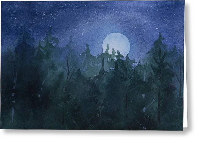 Moon Setting Over Forest Greeting Card by Debbie Homewood