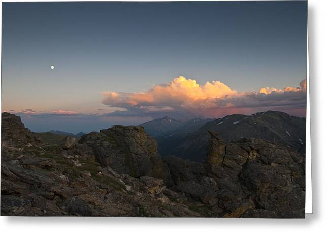 Moon Storm Sunset And Longs Peak Greeting Card