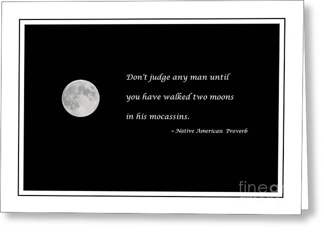 Moon With Proverb Greeting Card by Barbara Griffin