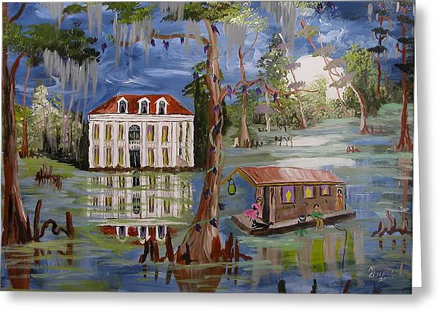Moonlight And Houseboat Greeting Card by Mary Crochet