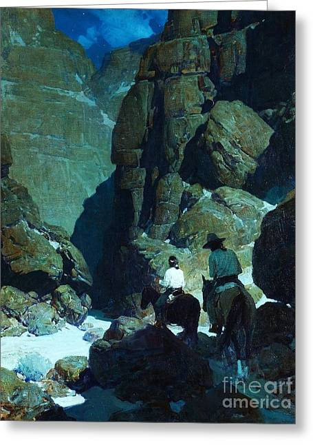 Moonlight Canyon Greeting Card by Pg Reproductions