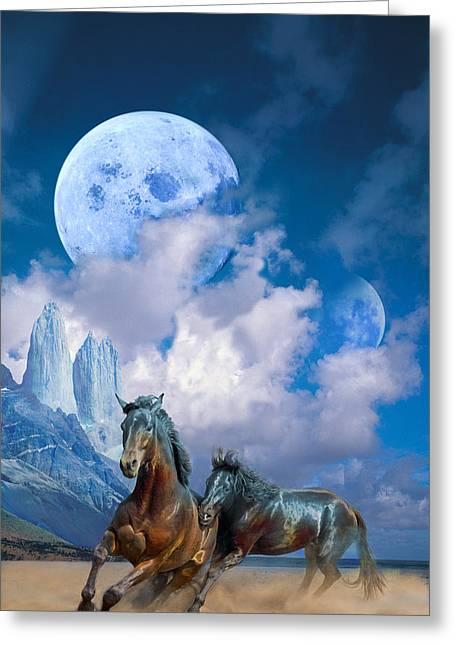 Moonlight Horses Greeting Card by Pavlos Vlachos