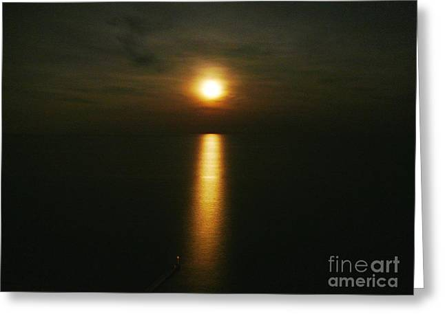 Moonlight Over The Sea _ Lido De Jesolo Greeting Card by AmaS Art