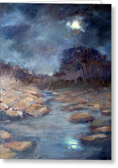 Greeting Card featuring the painting Moonlight by Rosemarie Hakim