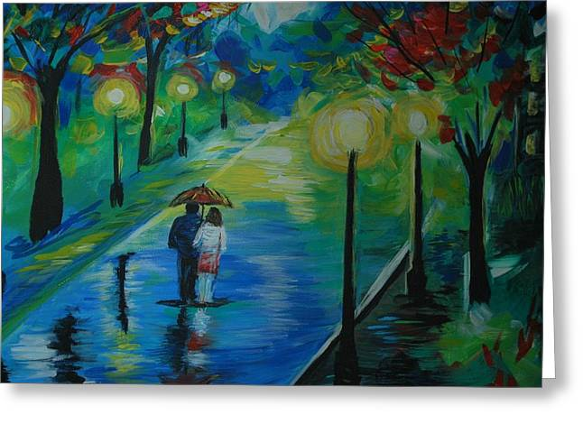Greeting Card featuring the painting Moonlight Stroll Series 1 by Leslie Allen
