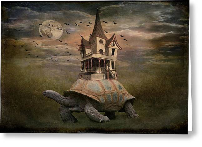 Moonlight Traveler Greeting Card by Marie  Gale