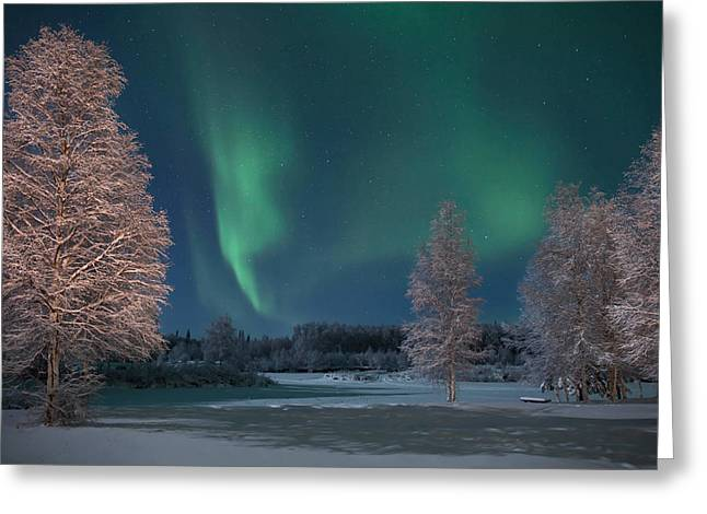Moonlit Aurora Greeting Card