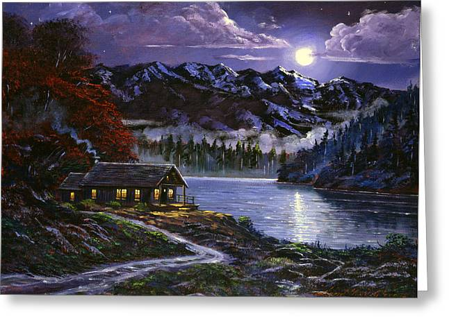 Moonlit Cabin Greeting Card by David Lloyd Glover