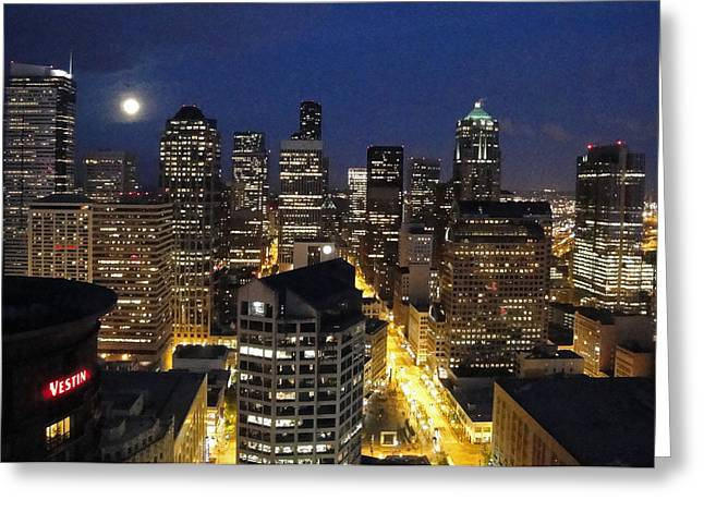 Moonlit Seattle Skyline Greeting Card