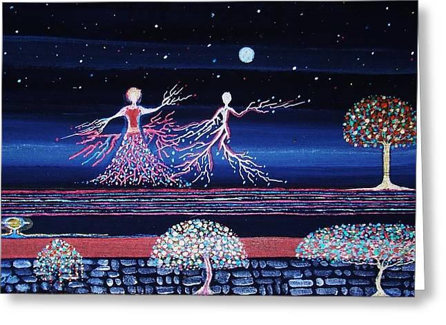 Moonlove Dance Greeting Card by Farshad Sanaee The Apple