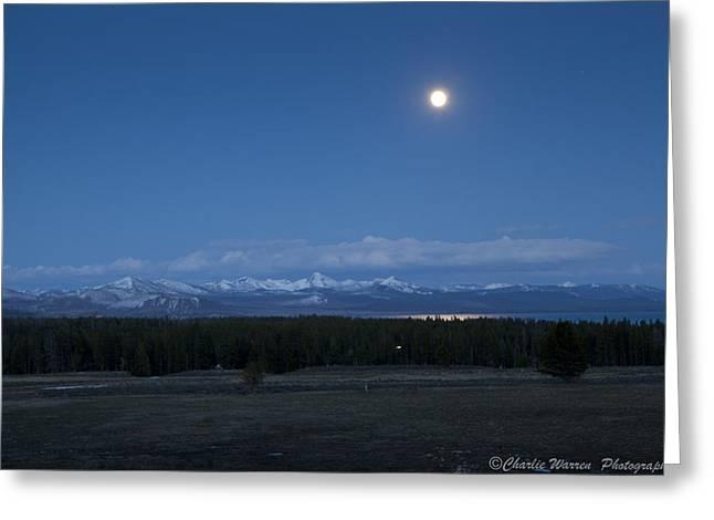 Moonrise At Fishing Bridge Greeting Card by Charles Warren