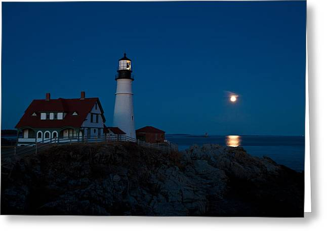 Moonrise At Portland Head Greeting Card
