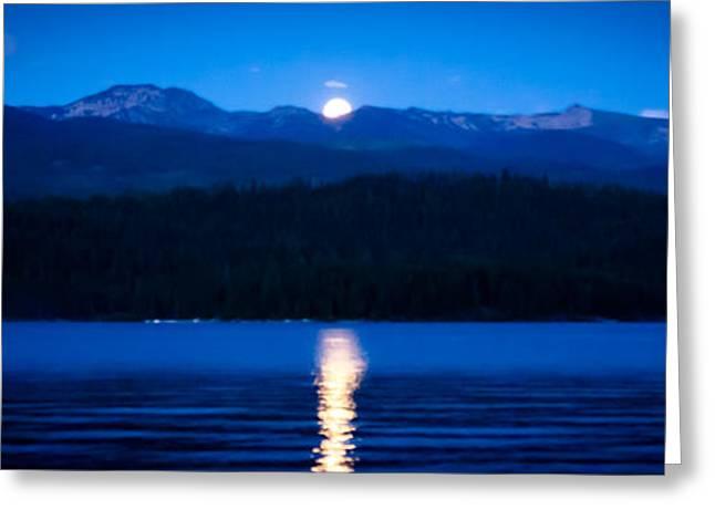 Moonrise At Priest Lake Greeting Card