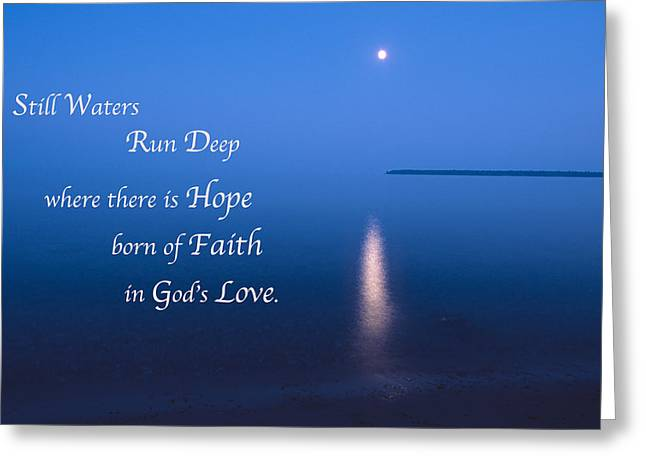 Moonrise On Lake Superior With Quote Greeting Card