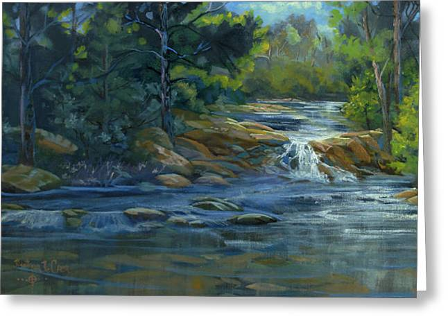 Moonrise On The River Greeting Card by Heather Coen