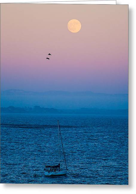 Moonrise Over Capitola Greeting Card by Tommy Farnsworth