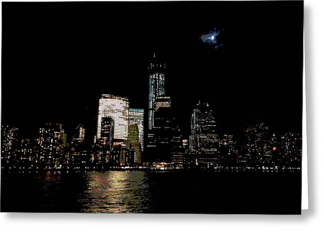 Moonrise Over Freedom Tower Greeting Card by Lewis Mengersen