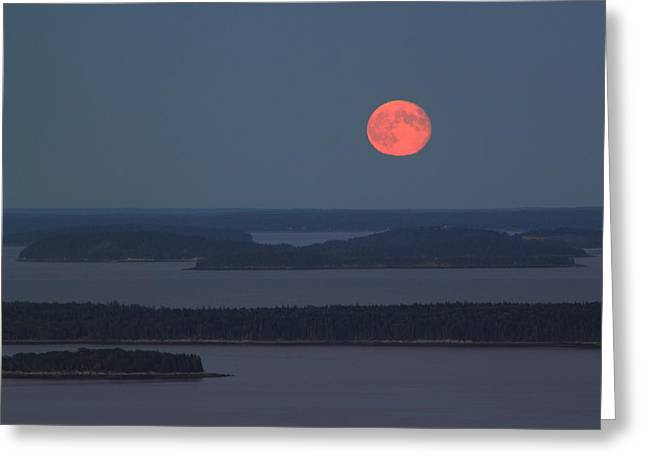 Moonrise Over Penobscot Bay From Camden Hills Greeting Card by John Burk