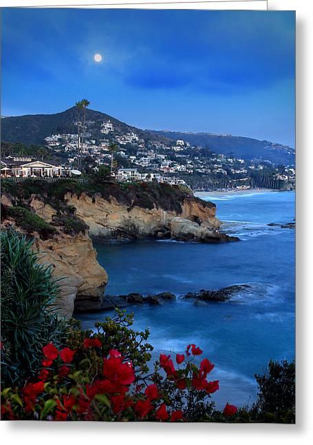 Moonrise Over Treasure Island Beach Greeting Card by Dave Sribnik
